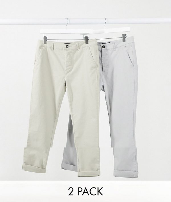 ASOS DESIGN 2 pack skinny chinos in light gray & beige-Multi