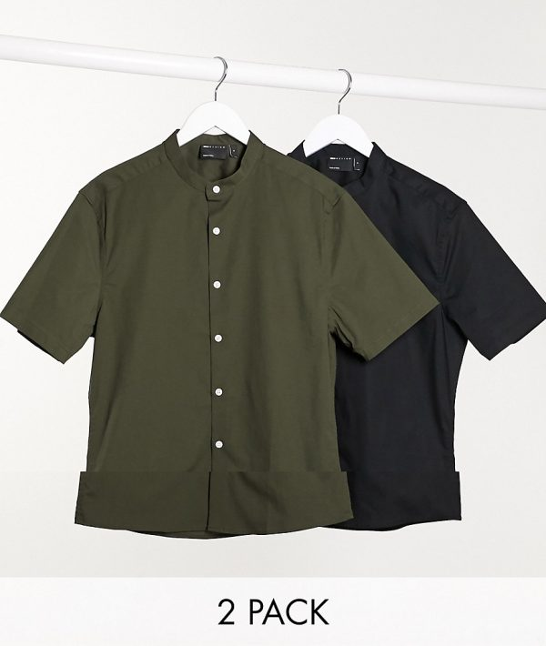 ASOS DESIGN 2 pack skinny fit smart shirt with grandad collar save-Multi