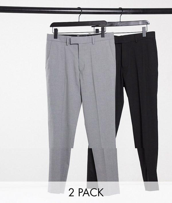 ASOS DESIGN 2-pack skinny pants in black and gray-Multi