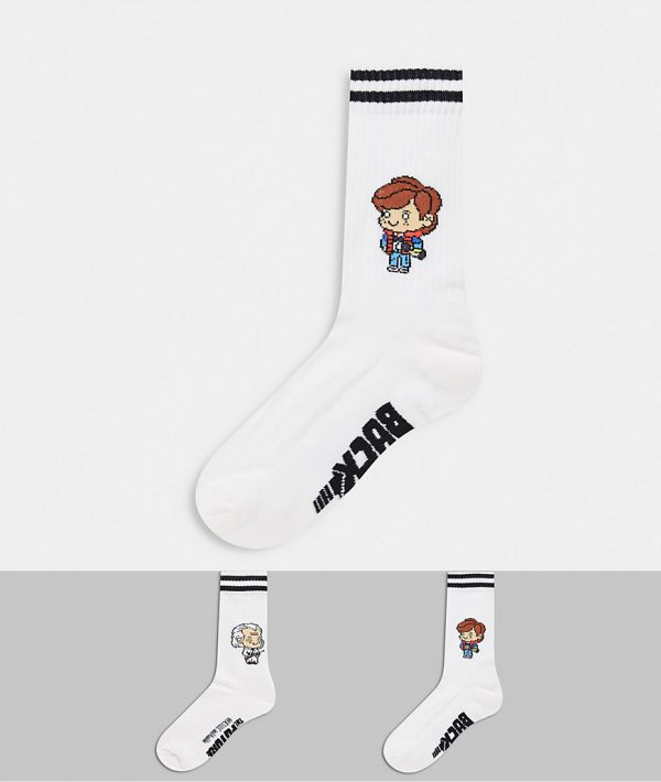 ASOS DESIGN 2 pack sport socks with back to the future design-White