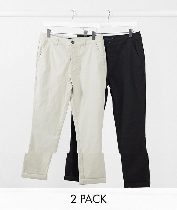 ASOS DESIGN 2 pack super skinny chinos in black & beige save-Multi