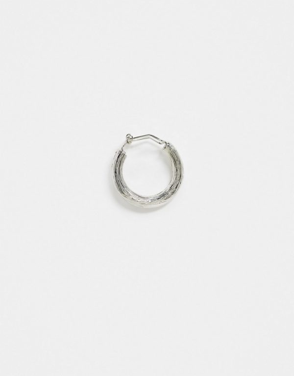ASOS DESIGN 22mm ear cuff with texture in burnished silver tone