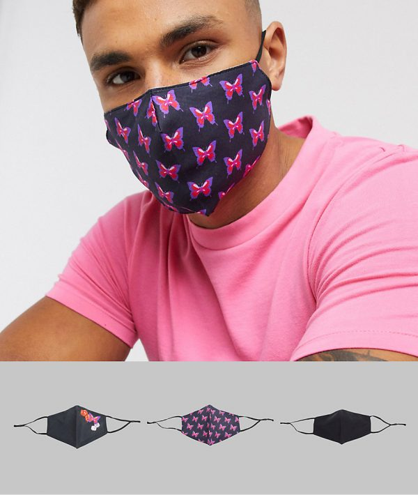 ASOS DESIGN 3 pack face covering with adjustable straps and nose clip in black with butterfly design