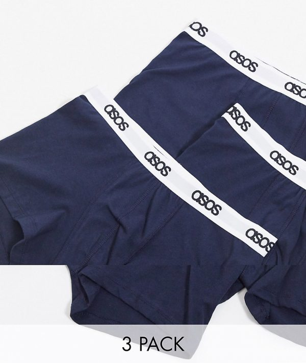 ASOS DESIGN 3 pack trunks in navy with branded waistband