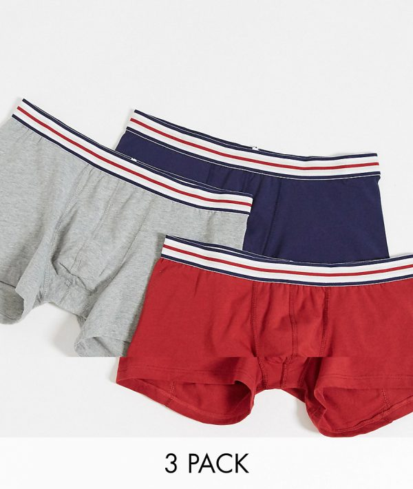 ASOS DESIGN 3 pack trunks with striped waistband-Multi