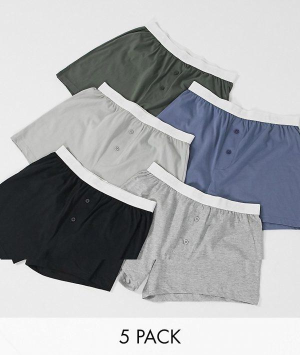 ASOS DESIGN 5 pack jersey boxer shorts-Multi