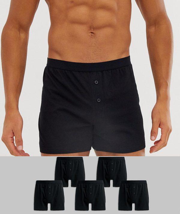 ASOS DESIGN 5 pack jersey boxers black save