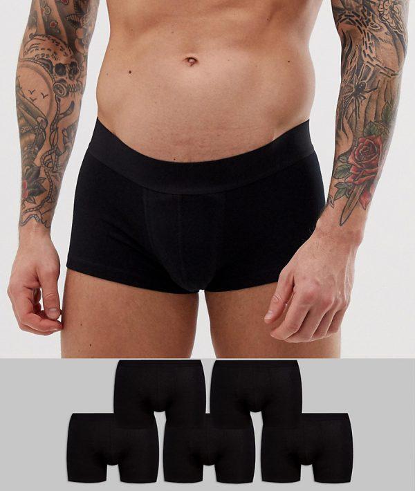 ASOS DESIGN 5 pack short trunks in black in organic cotton