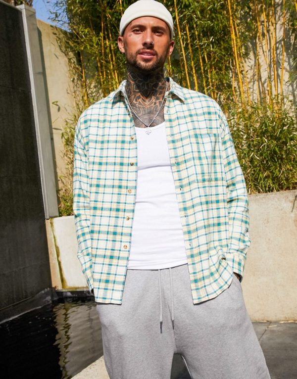 ASOS DESIGN 90s oversized check shirt in green brushed flannel