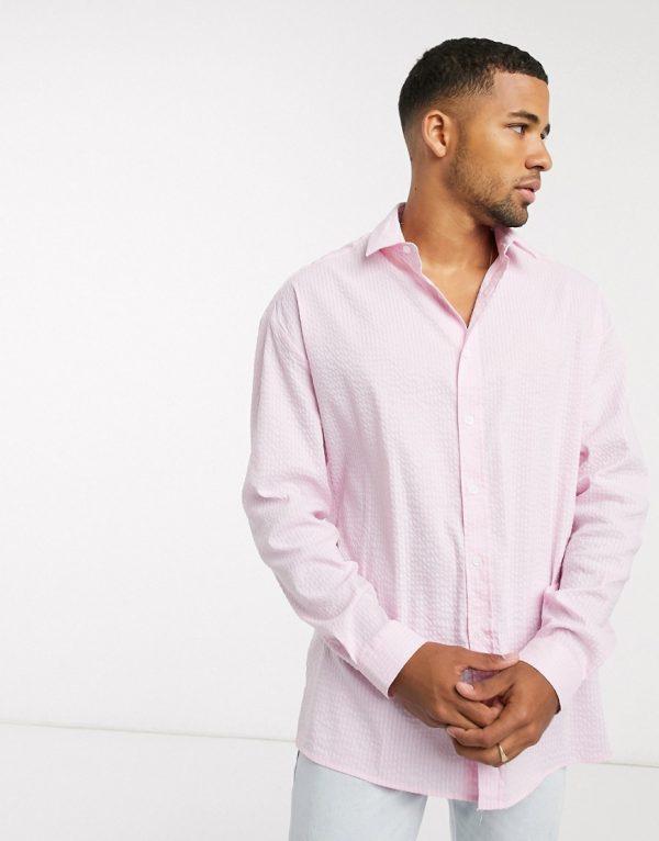 ASOS DESIGN 90s oversized shirt in pink seersucker
