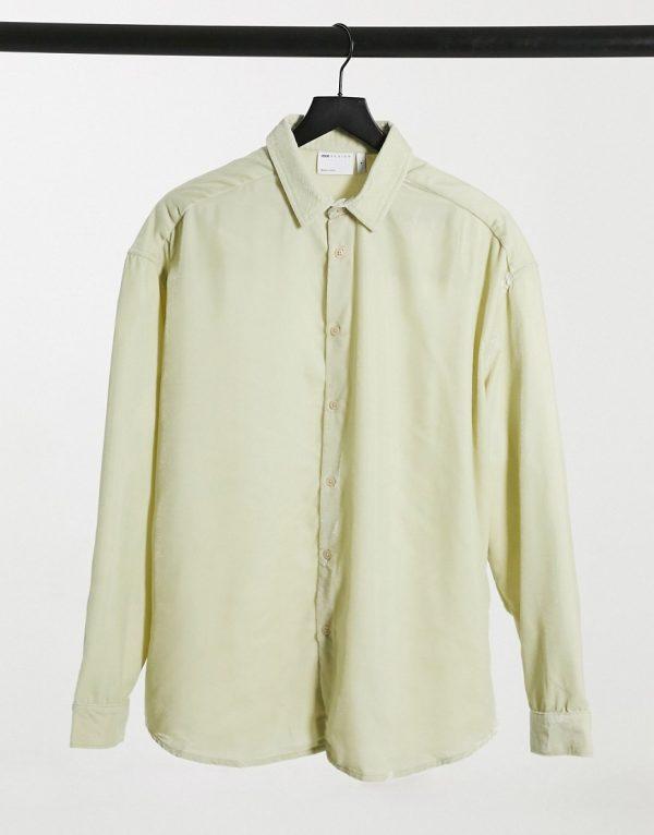 ASOS DESIGN '90s oversized velvet shirt in champagne-Beige