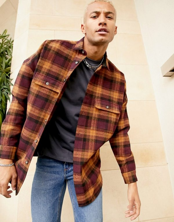 ASOS DESIGN 90s oversized wool heavy plaid shirt in burgundy-Red