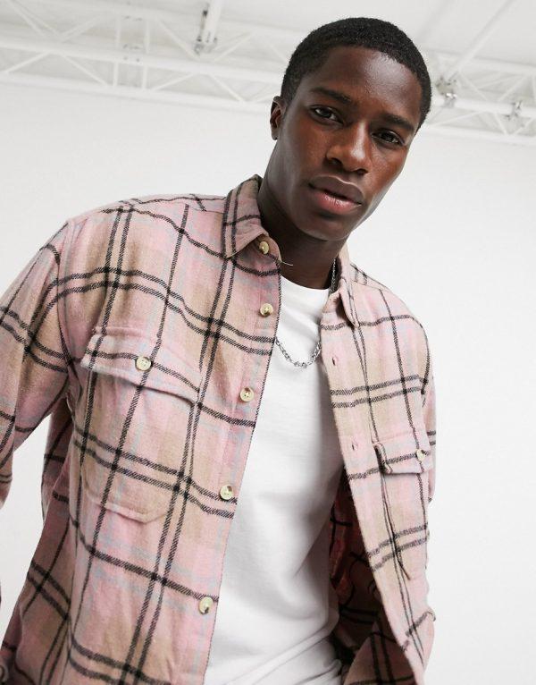ASOS DESIGN 90s oversized wool rich pastel check shirt in multi-Beige
