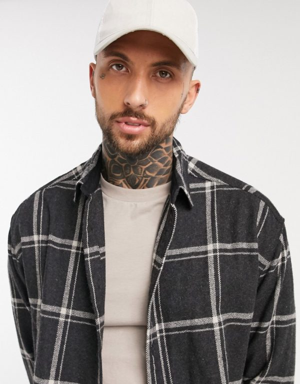 ASOS DESIGN 90s oversized wool-rich shirt in black and white large scale plaid