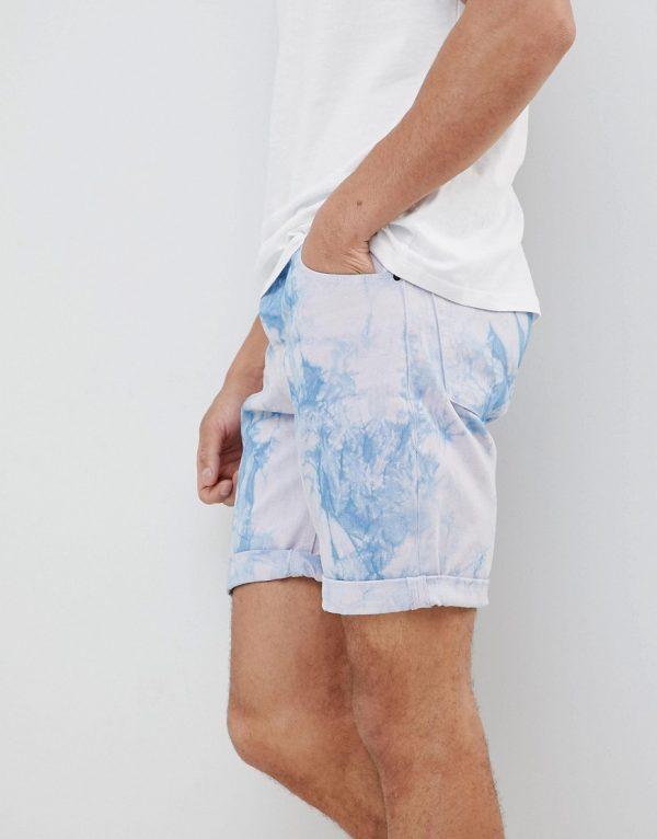 ASOS DESIGN Denim Shorts In Slim Purple Tie- Dye