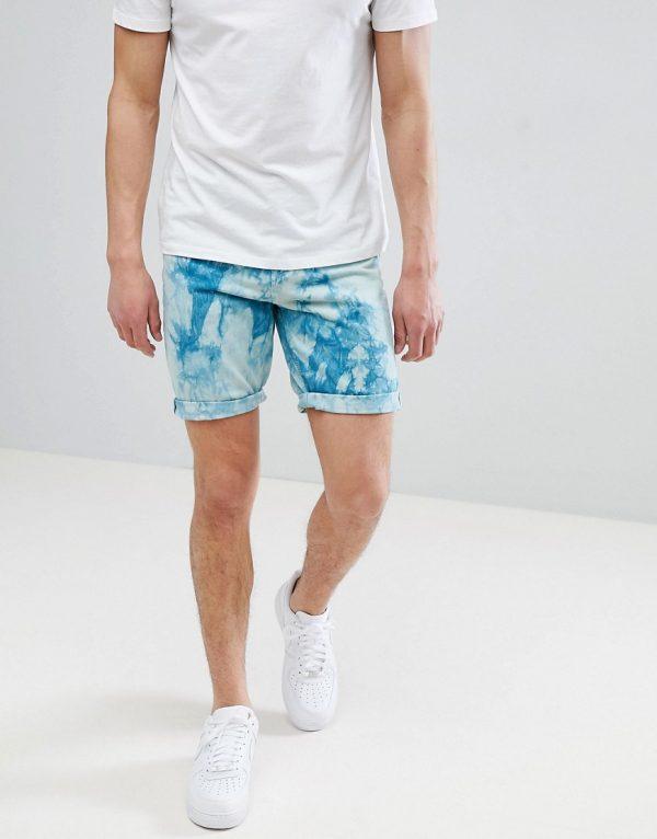 ASOS DESIGN Denim Shorts In Slim Teal Tie-Dye-Green