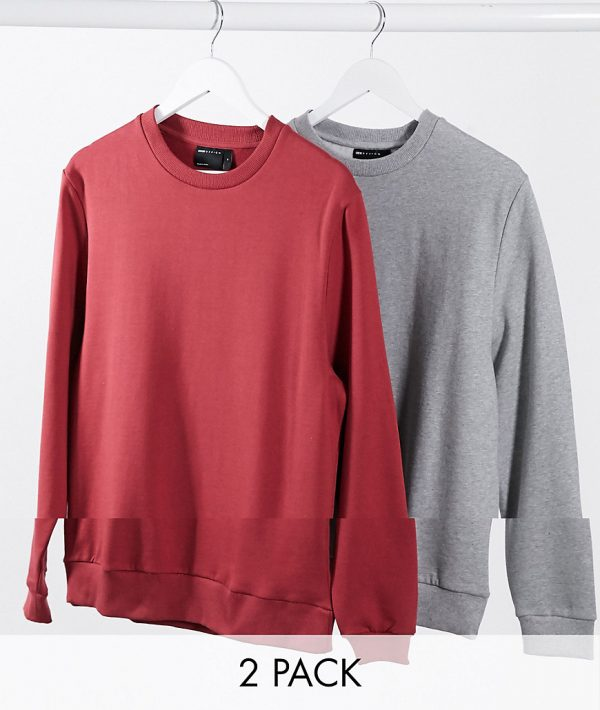 ASOS DESIGN ORGANIC sweatshirt 2 pack red/gray marl-Multi