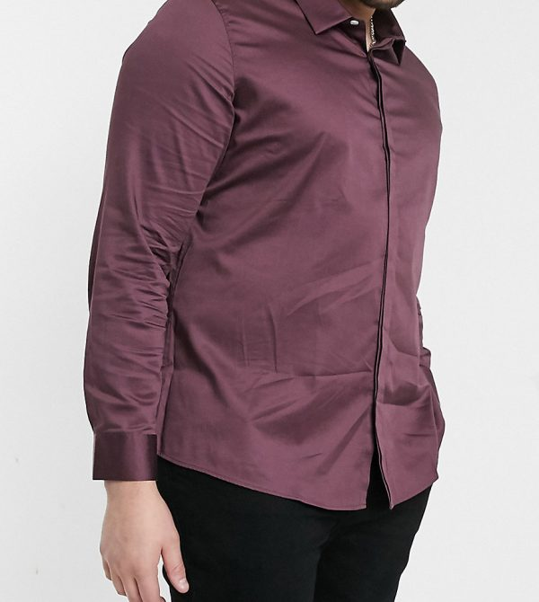 ASOS DESIGN PLUS slim fit sateen shirt in berry-Red