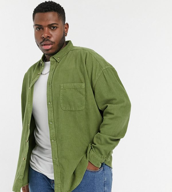 ASOS DESIGN Plus 90s oversized cord shirt in green