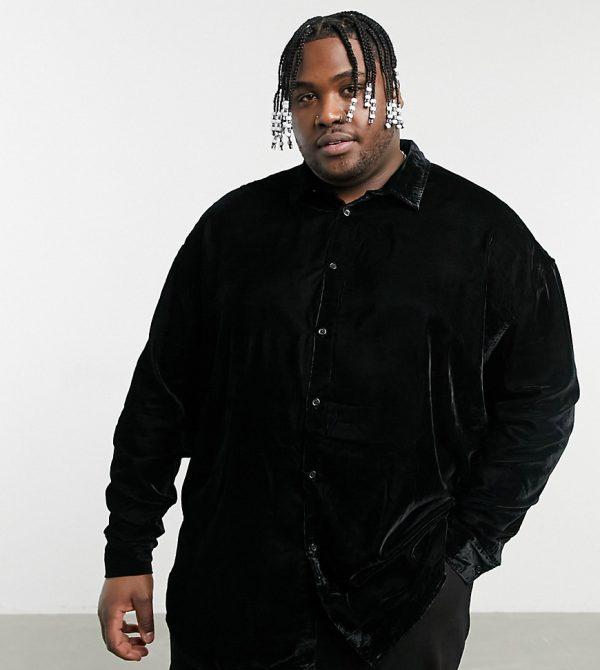 ASOS DESIGN Plus 90s oversized velvet shirt in black