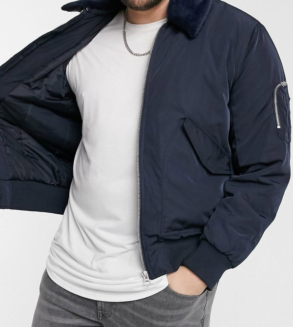 ASOS DESIGN Plus bomber jacket with detachable faux fur collar in navy