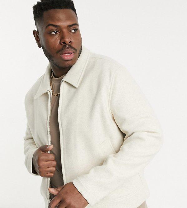 ASOS DESIGN Plus faux wool jacket in stone-Neutral