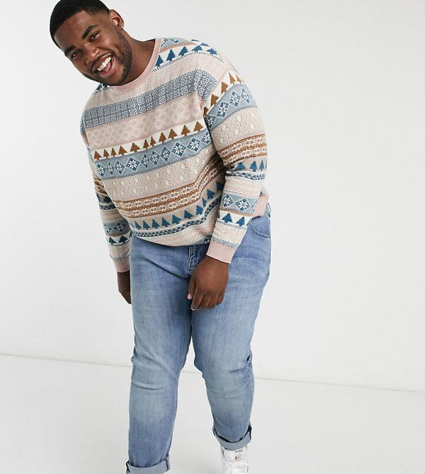 ASOS DESIGN Plus knitted oversized fair isle design sweater in lilac-Purple