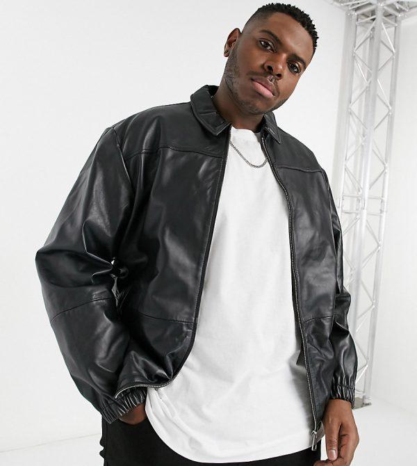 ASOS DESIGN Plus leather harrington jacket in black