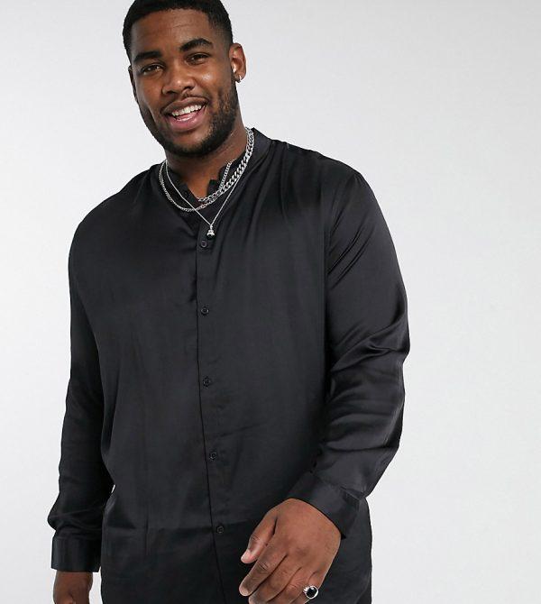 ASOS DESIGN Plus longline satin regular fit shirt with mandarin collar in black