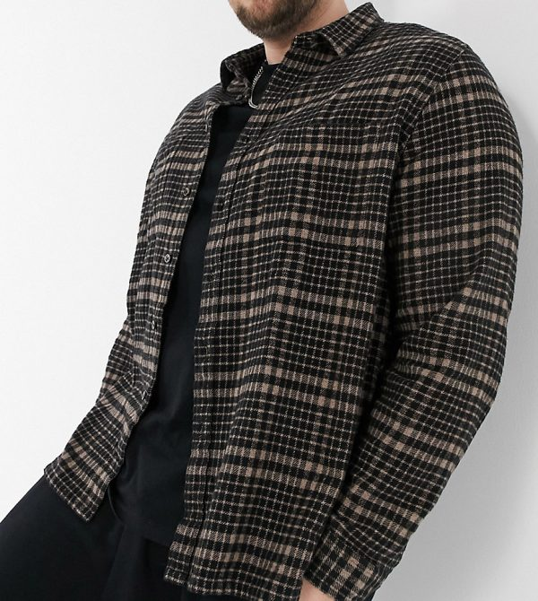 ASOS DESIGN Plus overshirt in brown heritage check with patch pockets