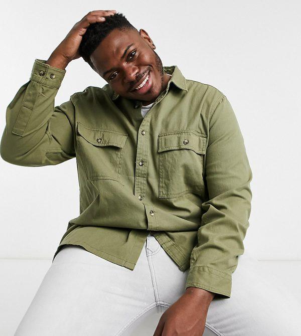 ASOS DESIGN Plus overshirt in khaki-Green