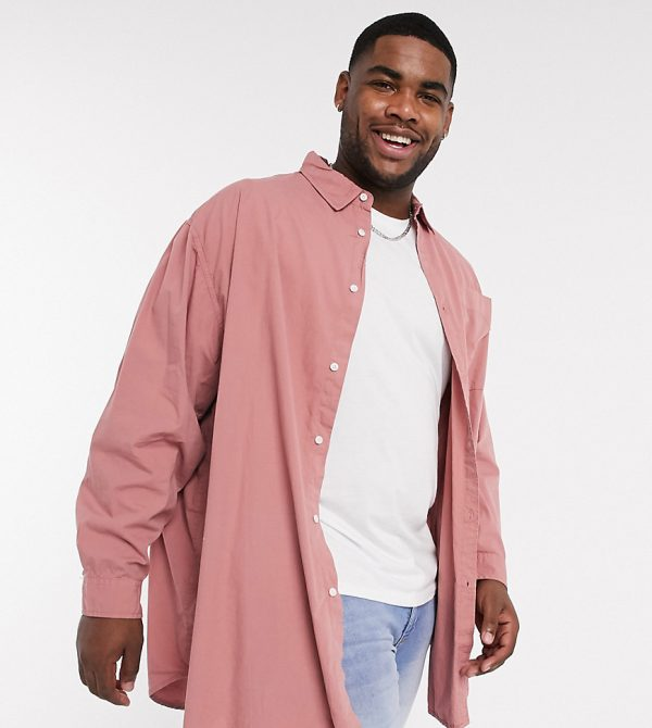 ASOS DESIGN Plus oversized longline shirt in dusky pink