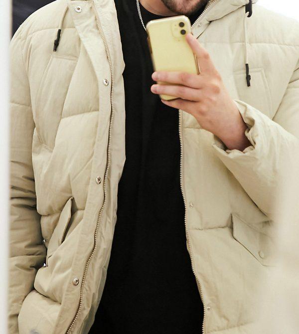 ASOS DESIGN Plus puffer jacket in ecru-Cream