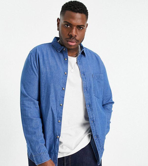 ASOS DESIGN Plus regular fit organic denim shirt in mid wash-Blues