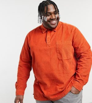 ASOS DESIGN Plus rugby style overhead corduroy shirt in rust-Orange