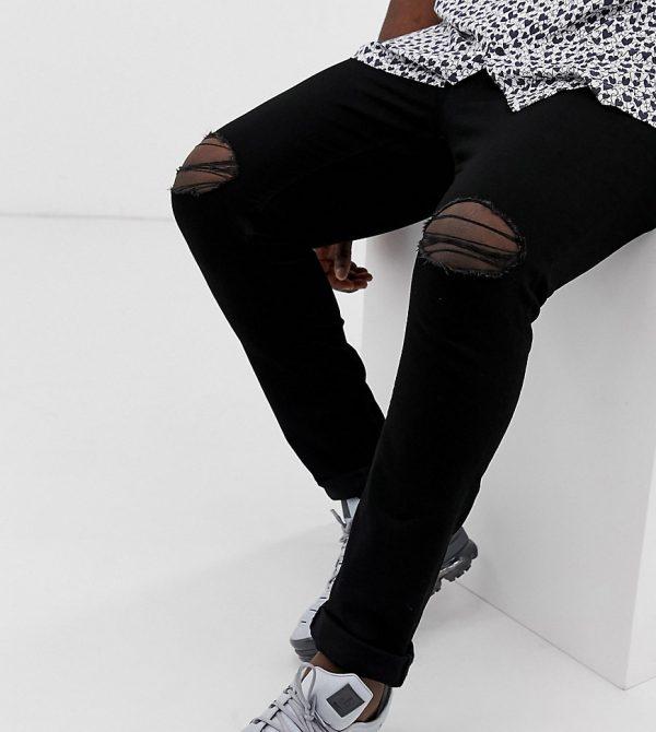 ASOS DESIGN Plus super skinny jeans with knee rips-Black