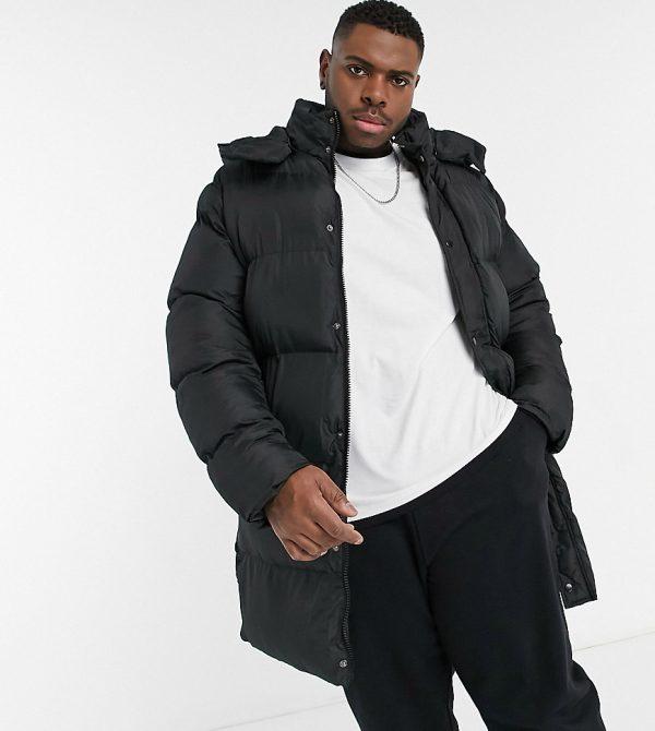 ASOS DESIGN Plus sustainable puffer jacket in longerline in black