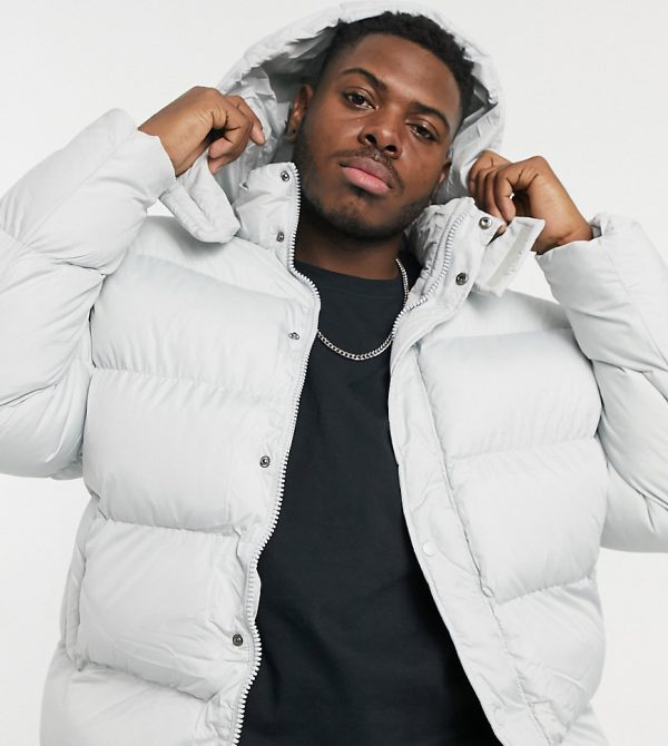 ASOS DESIGN Plus sustainable puffer jacket with detachable hood in gray-Grey