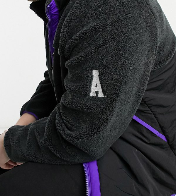 ASOS DESIGN Plus teddy jacket with contrast panel in purple and black