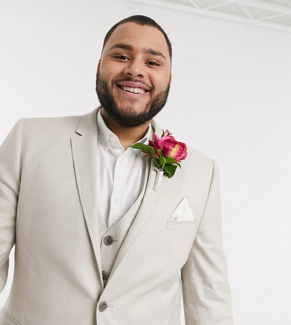 ASOS DESIGN Plus wedding super skinny suit jacket in stretch cotton linen in stone-Neutral