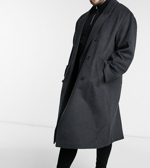 ASOS DESIGN Plus wool-blend longline overcoat in charcoal-Black