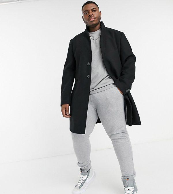 ASOS DESIGN Plus wool mix overcoat with inverted lapel in black
