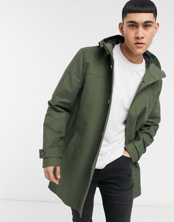 ASOS DESIGN Shower Resistant Hooded Trench Coat In Green