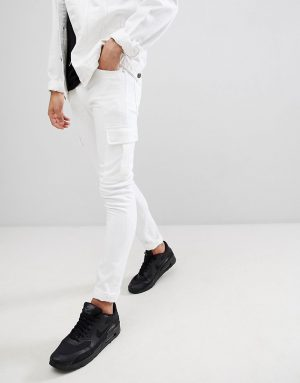 ASOS DESIGN Super Skinny Jeans In White With Cargo Pockets