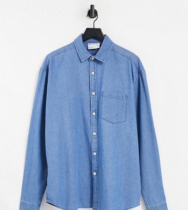 ASOS DESIGN Tall 90s oversized organic denim shirt in mid wash-Blues