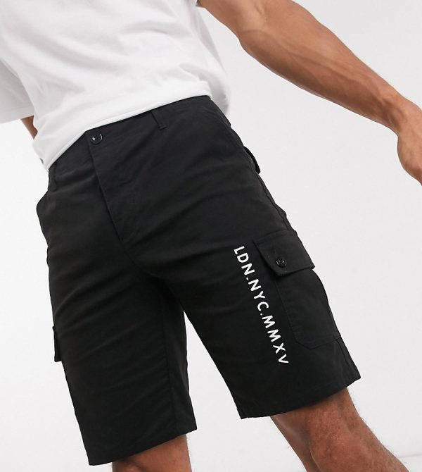 ASOS DESIGN Tall cargo shorts with city embroidery-Black