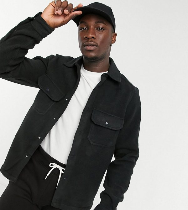 ASOS DESIGN Tall fleece overshirt in black