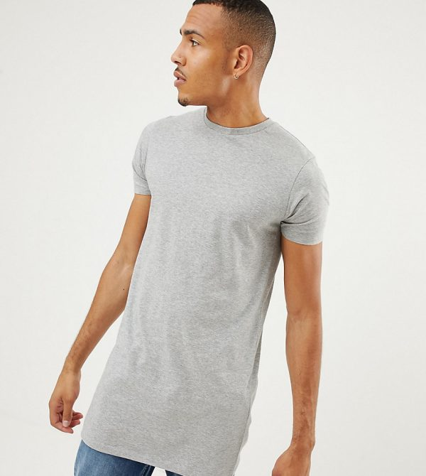 ASOS DESIGN Tall longline t-shirt with crew neck in gray
