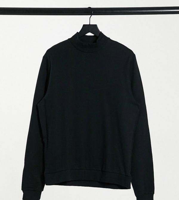 ASOS DESIGN Tall organic sweatshirt with turtle neck in black