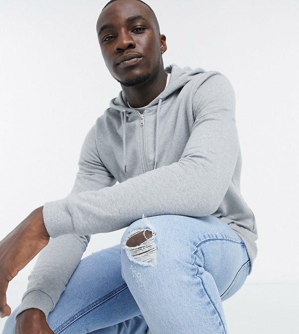 ASOS DESIGN Tall organic zip up hoodie in heather gray-Grey